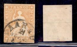 ESTERO - SVIZZERA - 1854/1859 - 40 Rappen Helvetia (16 II) - Usato (65) - Francobolli