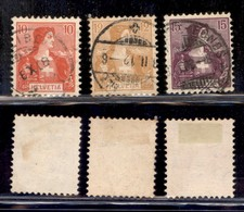 ESTERO - SVIZZERA - 1907 - Helvetia (98/100) - Serie Completa - Usati - Francobolli