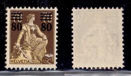 ESTERO - SVIZZERA - 1915 - 80 Cent Su 70 Helvetia (127) - Gomma Originale - Francobolli