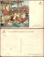 CARTOLINE - PUBBLICITARIE - Navigazione Generale Italiana N.G.I. - I Bagni Di Solo Sull'Augustus - Ill. Dudovich - Nuova - Francobolli