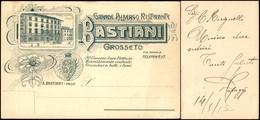 CARTOLINE - TESTATINA - Grande Albergo Ristorante Bastiani Grosseto - Nuova FP - Francobolli