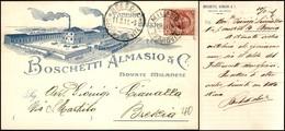 CARTOLINE - TESTATINA - Fabbrica Saponi Boschetti Almasio E C. Novate Milanese - Viaggiata FP - Francobolli