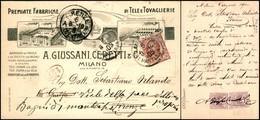 CARTOLINE - TESTATINA - Fabbriche Di Tele E Tovaglierie A.Giusssani Ceretti & C. Milano - Viaggiata FP - Francobolli