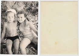 1960s Original 13x9 Photo Vintage Children Child Girl Teenager Boy Swimsuit Pants Pin Up Russia (4681) - Pin-Ups
