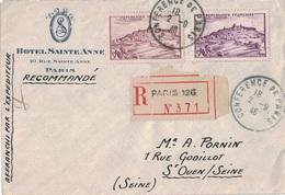 PARIS 126 - CACHET CONFERENCE DE PARIS 2-9-1946 - LETTRE RECOMMANDEE AVEC N°759 X 2 (COULEURS DIFFERENTES) - VARIETE. - Posttarieven