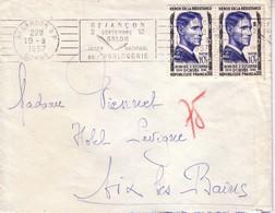 DOUBS - BESANCON - OMEC 2 SEPTEMBRE 12 SALON INTERNATIONAL DE L'HORLOGERIE - N°1101 X 2 - 19-8-1957. - Tarifs Postaux