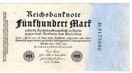 Billet Allemand De 500 Mark - 7-juillet-1922 - 7 Chiffres Uniface En T T B+- - [ 3] 1918-1933 : République De Weimar