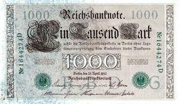 Billet Allemand De 1000 Mark - 21-avril-1910 - 7 Chiffres En S U P- - [ 2] 1871-1918 : German Empire
