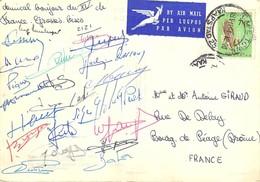 Exceptionnelle Carte D'Afrique Du Sud Cape Town Signée Par Les Joueurs Du XV De France Rugby Tournée 1964 - Rugby