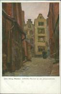 Danzig Gdańsk/Gduńsk Künstlerkarte Pfarrhof An Der Johanniskirche 1928  - Danzig