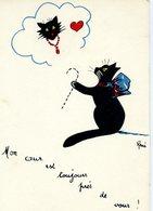 CHATS  - Chat Noir: Mon Coeur Est Toujours Près De Vous ! -  Illustrateur: René - Katten