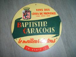Plaque émaillée Vins Des Cotes De Provence Baptistin Caracous - Advertising (Porcelain) Signs
