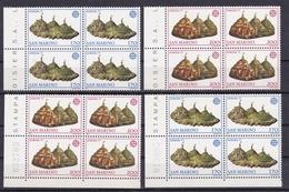 1977 San Marino Saint Marin EUROPA CEPT EUROPE 8 Serie Di 2v. MNH** 2 Quartine 2 Blocks Of 4 - Europa-CEPT
