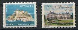 RC 11870 FRANCE N° 722A + 730A CHATEAU SUPPORT PAPIER BLANC AUTOADHÉSIF COTE 6,00€ TB - Frankreich