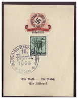 Dt.- Reich (007981) Propaganda Gedenkblatt, Österreich Kehrt Heim, Ein Volk- Ein Reich- Ein Führer, Gestempelt Mit SST - Allemagne
