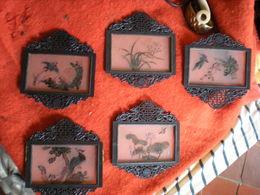 Anciennes Plaques De Lanterne (cinq Plaques) - Art Asiatique