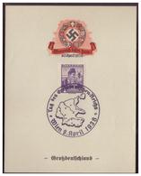 Dt.- Reich (007982) Propaganda Gedenkblatt, Österreich Kehrt Heim, Großdeutschland, Gestempelt Mit SST Wien 9.4.1938 - Germania