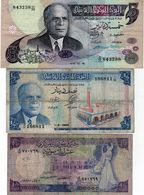 2 Billets De La Tunisie: 1 De 5 Dinar 15-10-1973 &  1 De 1/2 Dinar 1-6-65 &  1 Billet De La Syrie De 1 Pounds 1982 - Billets