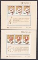 1985 Portogallo, Azzorre Madeira Portugal Azores EUROPA CEPT EUROPE 2 Foglietti MNH** 2 Souv. Sheets - Europa-CEPT