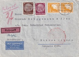 REICH 1939 BRIEF V. BERLIN AUFGEGEBEN BEI ROHRPOST MIT FLUGBESTÄTIGUNGSSTEMPEL BERLIN NACH BUENOS AIRES - Deutschland