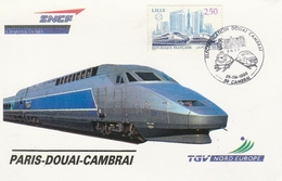 OBLIT. ILLUSTRÉE ÉLECTRIFICATION DOUAI CAMBRAI - 25.9.93 - TRAIN / TGV - Postmark Collection (Covers)