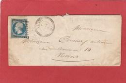 Nièvre - PC 87 Avlezy Sur 14A LAC Vers Nevers 1856 - Storia Postale