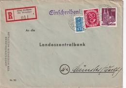 BUND 1951 LETTRE RECOMMANDEE DE BECKUM AVEC CACHET ARRIVEE MÜNSTER - Lettres & Documents