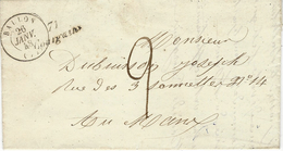 1848- Lettre Cursive De 71 /  Courgains   ( Sarthe )  + Cad T15 De BALLON  Taxe 2 D Pour Le Mans - 1801-1848: Precursors XIX