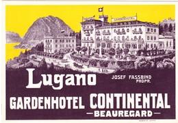 Reklamekarte Mit Tarifen Des Garden Hotel Continental Lugano - TI Tessin