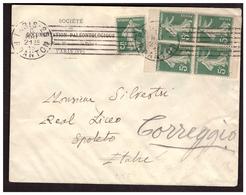 Bloc De 4 Du N°137 De Carnet Sur Lettre De PARIS Pour SPOLETO (ITALIE) Du 6.5.15. - France