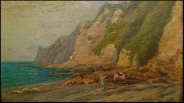 EDWARD WILLIAM CHARLTON (1859 - 1935) Oil On Board - Title: A LANDSLIDE - DEVON - Oils