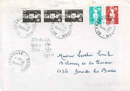 TP N ° 2617 En 3 Ex, 2618 Et 2630, Soit 2,80 Fr Sur Enveloppe De Granville - Postmark Collection (Covers)