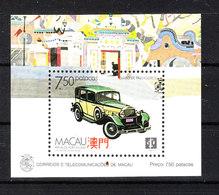 Macao  - 1988. Auto Storica.Retro Con Scritta Fuori Francobollo.Historic Car. RARE MNH BF. Retro With Written Out Stamp - Automobili