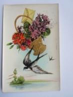 Mand Bloemen Zwaluwen Corbeille Fleurs Hirondelle Glacée Glanzend Cecami N 2002 Gelopen Circulée 1949 - Pájaros