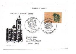 OBLITERATION 1 ER JOUR POINT PHILATELIE DE SAINT DENIS 1985 - Gedenkstempel