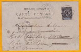 1902 - CP De Diego Suarez, Madagascar Vers Bordeaux Puis Redirigée - 10 C Type Sage Seul - Photo - Storia Postale