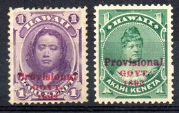 APR1296 - HAWAII 1893 , Yvert N. 42 E 44 * Linguelle Pesante (2380A) - Hawaii