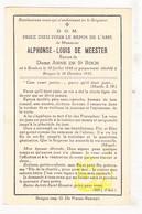 DP Bankier Alphonse L. De Meester ° Roeselare 1848 † Brugge 1932 X Anna De St.-Roch (° Namur 1852) - Devotieprenten