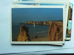 Portugal Algarve Beach And Boat Near Rocks - Portugal
