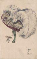 Très Jolie Illustration - Femme Avec Très Grand Chapeau à Plumes - 2 Scans - Illustrateurs & Photographes