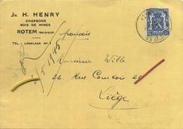 ROTEM : Jn. H. Henry :  Charbons - Bois De Mines 1945  ( 2 Scans ) - België