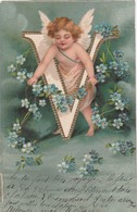 - Très Belle Carte ANGELOT En Relief, Lettre V  - 010 - Fantaisies