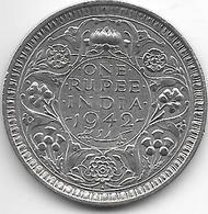 * Britisch India  1 Rupee    1942 Dot Km 557.1 Vf+ - Inde