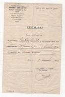 CERTIFICAT DE TRAVAIL SOCIETE ANONYME ANDRE CITROËN QUAI DE JAVEL - 1945 - Documentos Históricos