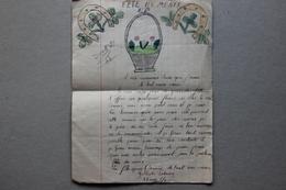Fête Des Mères, Dessins Et Texte D'une Enfant - Vieux Papiers