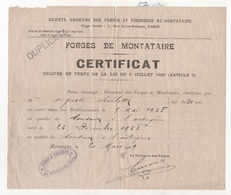 CERTIFICAT DE TRAVAIL FORGES ET FONDERIES DE MONTATAIRE - 60 OISE - 1929 - Historische Dokumente