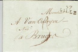 LAC Datée 1805 Precurseur D7 De Lille Vers Bruges Griffe 57 Lille En Noire  Avec 3 De Port - Postmark Collection (Covers)
