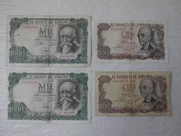 Billet De Banque Espagne 2 X 100 & 2 X 1000 Pesetas 1970 & 1971...! - [ 3] 1936-1975: Franco