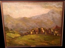 MARGARET THEYRE (1897 - 1977) OIL ON CANVAS - TITLE: MOUNTAINOUS LANDSCAPE - 50CM X 40CM - SIGNED - Oils