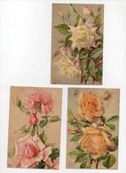 3 CPA  Fleurs Roses Illustrateur Millot (2 Cartes) Rose Marie Van Houtte Lady Hillingdon K.F. Serie 635 - Fleurs